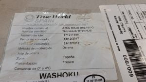 Etiqueta atún rojo de Washoku , Sushi en Madrid